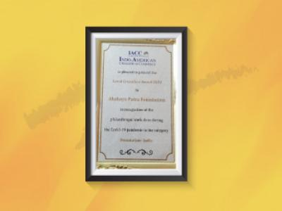 IACC presented Akshaya Patra with the COVID Crusaders Award 2020