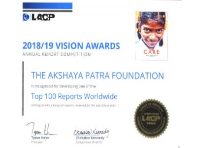 Akshaya Patra Wins Gold at LACP vision Award 2018-19