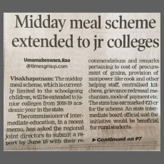 Midday meal scheme extended to jr colleges
