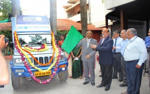 Akshaya Patra receives meal delivery vehicle from SBT