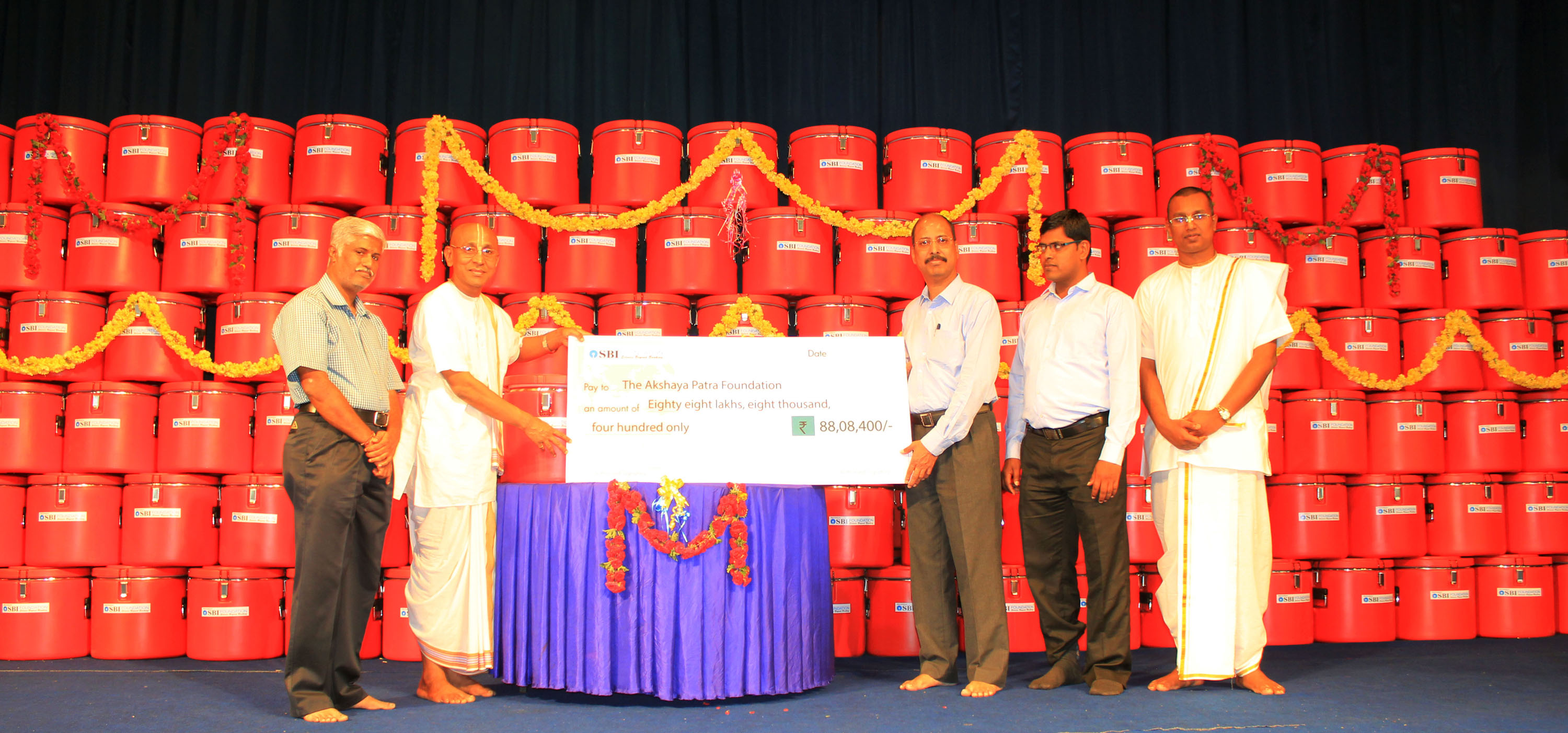 SBI Foundation donates INR 88 Lakhs to Akshaya Patra