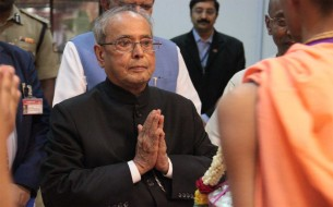 The President of India, Pranab Mukherjee, and other dignitaries visited the temple after the commemoration of Akshaya Patra's milestone of serving 2 billion meals
