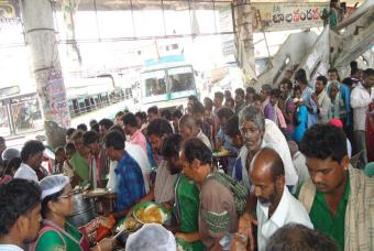 Srikakulam residents were provided breakfast, lunch, and dinner as part of the relief