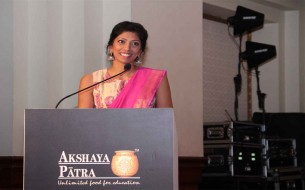 Compere Laxmi Rebecca directing the event with elegance and cheer