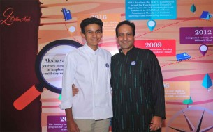 Mr Dinesh Malkani strikes a pose with his son Shivant Malkani