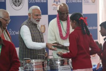 The Honourable Prime Minister interacts with children at the venue in Vrindavan