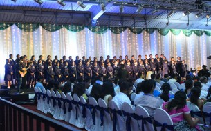Students of St. Joseph's Convent Girls High School and St. Joseph's Convent PU College singing the invocation song to begin the commemoration event