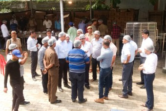 Akshaya Patra staff discussing their modus operandi for the relief operations