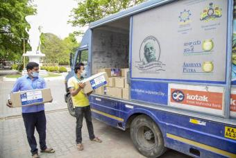 Akshaya Patra's distribution van is filled with grocery kits to help marginalised communities.