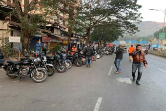 Bikers gathering at the venue.