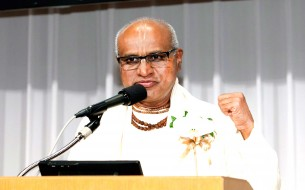 Shri Madhu Pandit Dasa, Chairman, Akshaya Patra, delivering his acceptance speech at Nikkei Asia Prizes in Tokyo