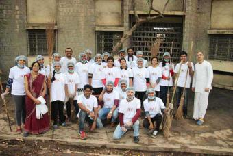 Around 25 enthusiastic young volunteers participated in a cleanliness drive organised by AIKYA