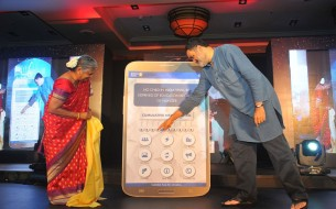 Mrs. Sudha Murty along with Mr. TV Mohandas Pai, launching the all new Akshaya Patra mobile app – among other features, the app shows the total number of meals served