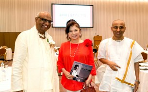 From left: Shri Madhu Pandit Dasa, Chairman, Akshaya Patra, Ms. Aki Yashiro, celebrated Japanese  singer and Shri Chanchalapathi Dasa, Vice Chairman, Akshaya Patra