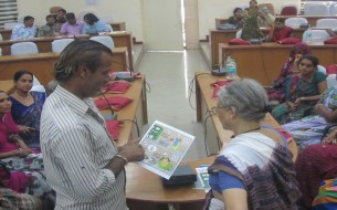 In Rajasthan, one of the participants clarifies doubts with the trainer