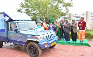 Flagging off the drinking water distribution vehicles