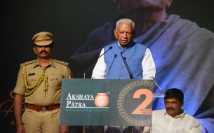 Shri Vajubhai Rudabhai Vala, Honourable Governor of Karnataka, talking to the audience