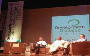 Narayana Murthy and Madhu Pandit Dasa at Development Dialogue 2015