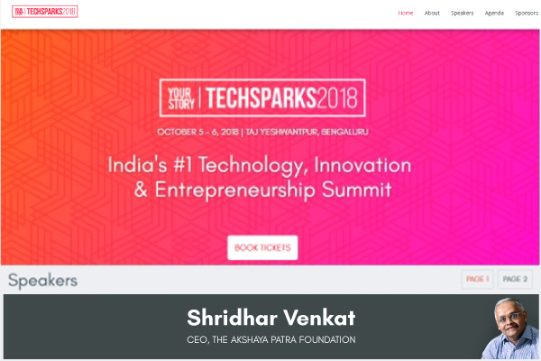 Mr. Shridhar Venkat - CEO, The Akshaya Patra Foundation to partake in TECHSPARKS2018