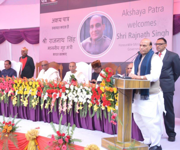 Shri Rajnath Singh graces the occasion of Akshaya Patra's one year in Lucknow