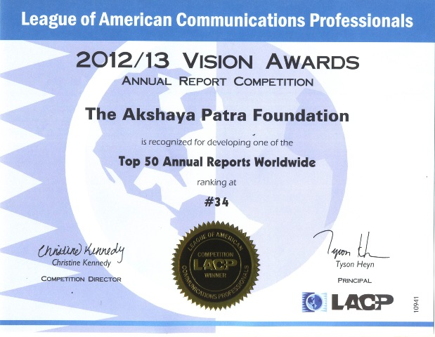 Akshaya Patra stands 34 in LACP ranking for annual report
