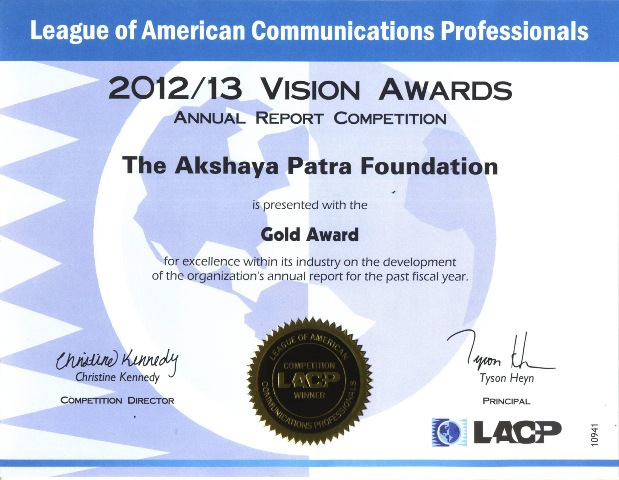 Akshaya Patra wins Gold at the LACP Annual Report Competition